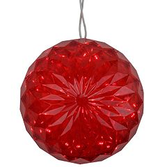 Northlight Seasonal Red LED Lighted Hanging Christmas Crystal Sphere Ball Outdoor Christmas Decoration