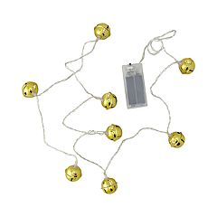 Northlight Seasonal 8 LED Gold Jingle Bell with Star Cut-Outs Battery Operated Christmas Lights