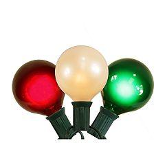 Northlight Seasonal 15 Red, White & Green Satin G50 Globe Christmas Lights