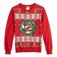 Boys 8-20 Super Mario Bros. Fairisle Christmas Sweater