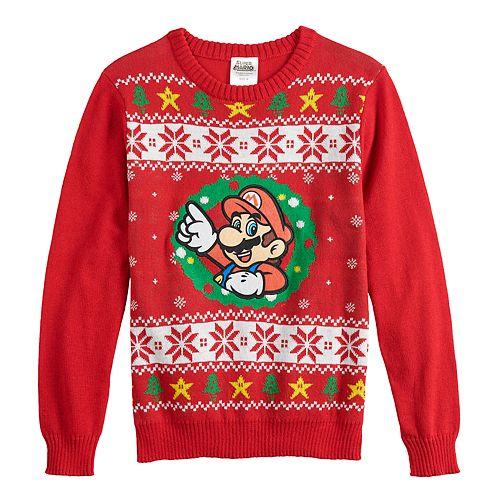 Fair Isle Christmas Sweater.Boys 8 20 Super Mario Bros Fairisle Christmas Sweater