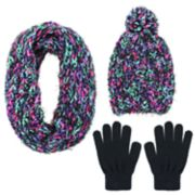 Girls 4-14 Capelli Space-Dyed Hat, Scarf & Magic Gloves Set