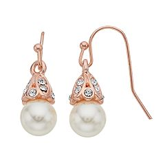LC Lauren Conrad Rose Gold Tone Simulated Pearl & Stone Nickel Free Drop Earrings