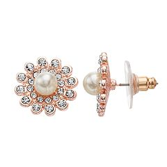LC Lauren Conrad Rose Gold Tone Simulated Pearl & Stone Flower Nickel Free Button Earrings