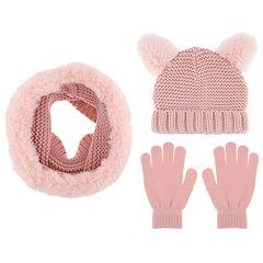 Girls 4-14 Capelli Cat Hat, Scarf & Gloves Set