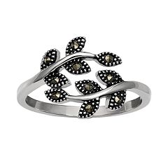 PRIMROSE Sterling Silver Beaded Marcasite Leaf Ring