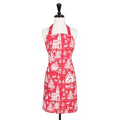KAF HOME Christmas Holiday Red Toile Apron