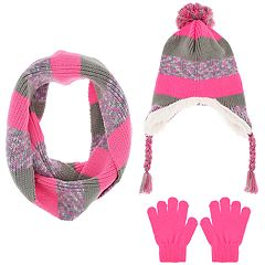 Girls 4-14 Capelli Space-Dyed Hat, Scarf & Gloves Set