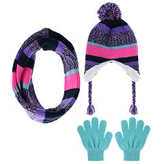 Girls 4-14 Capelli Striped Hat, Scarf & Gloves Set