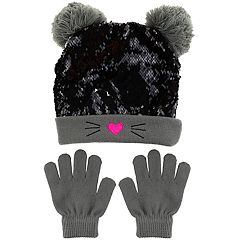 Girls 4-14 Capelli Flip Sequin Kitty Cat Hat & Gloves Set