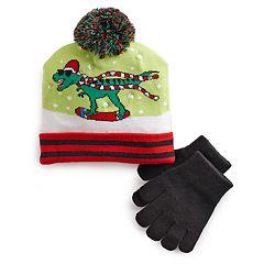 Boys 4-20 Dinosaur Christmas Light-Up Hat & Gloves Set