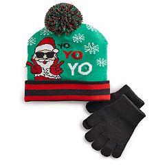 Boys 4-20 Santa Light-Up Hat & Gloves