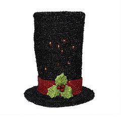 Northlight Seasonal Pre-Lit Tinsel Snowman Top Hat Christmas Tree Topper