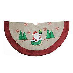 Northlight Seasonal 36-in. Burlap Santa Applique Christmas Tree Skirt