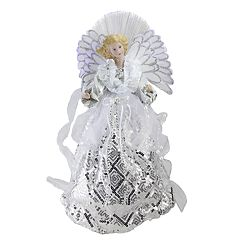 Northlight Seasonal Pre-Lit Fiber Optic Sequin Angel Christmas Tree Topper