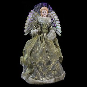 Northlight Seasonal Pre-Lit Fiber Optic Harp & Angel Christmas Tree Topper