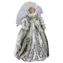 Northlight Seasonal Pre-Lit Fiber Faux-Fur Angel Christmas Tree Topper
