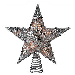 Northlight Seasonal Pre-Lit Silver Glitter Sequin Star Christmas Tree Topper
