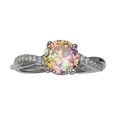 PRIMROSE Sterling Silver Rainbow Cubic Zirconia Twist Ring