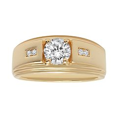 Men's 14K Gold over Silver Cubic Zirconia Grooved Ring