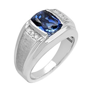 Men's Sterling Silver Lab-Created Blue & White Sapphire Ring