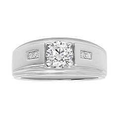 Men's Sterling Silver Cubic Zirconia Grooved Ring