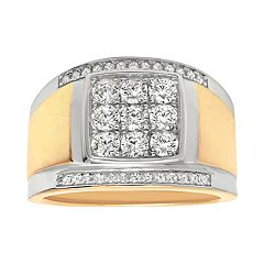 Men's 14k Gold Over Silver Cubic Zirconia Cluster Ring