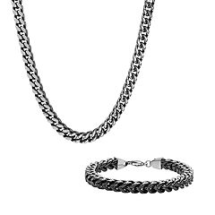 Men's Two-Tone Stainless Steel Franco Link Chain & Bracelet Set