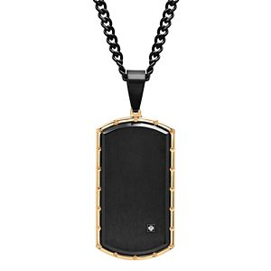 Men's Diamond Accent Stainless Steel Dog Tag Pendant Necklace