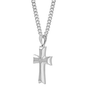 Men's Diamond Accent Stainless Steel Cross Pendant Necklace