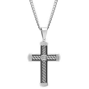 Men's Diamond Accent Stainless Steel Two-Tone Cross Pendant