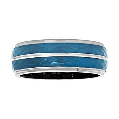 Men's Cobalt Two-Tone Hammered Band