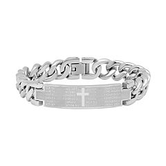 Men's Stainless Steel Cross Bar Bracelet