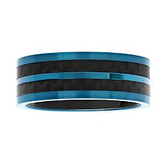 Men's Two-Tone Blue & Black Stainless Steel Stripe Band