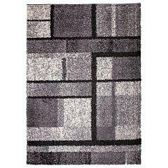 World Rug Gallery Hampton Cozy Shag Contemporary Geometric Boxes Rug
