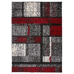 World Rug Gallery Hampton Cozy Shag Contemporary Geometric Boxes Rug