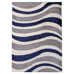 World Rug Gallery Hampton Cozy Shag Contemporary Waves Rug