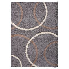 World Rug Gallery Hampton Cozy Shag Modern Circles Rug