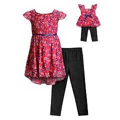 29d895360b34 Girls 4-14 Dollie   Me Floral Dress   Leggings Set with Matching Doll Outfit