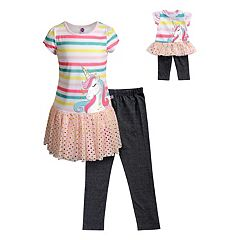 3ab3cc973f Girls 4-14 Dollie   Me Striped Dress   Jeggings Set   Matching Doll Set