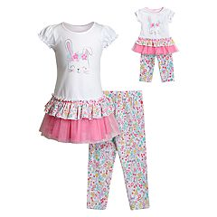 Girls 4-14 Dollie & Me Floral Bunny Rabbit Dress & Leggings Set with Matching Doll Outfit