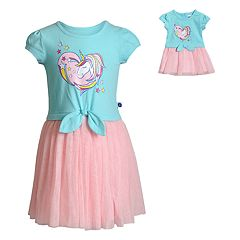 Girls 4-14 Dollie   Me Rainbow Unicorn Tie Front Dress with Matching Doll  Dress 7809bbf9f