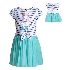9d2fca4015e Girls 4-14 Dollie   Me Mermaid Tie Front Dress   Matching Doll Dress