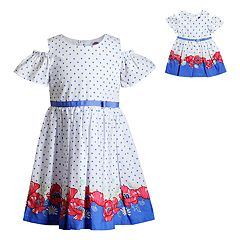 a8145483f9ba Girls 4-14 Dollie & Me Floral & Polka-Dot Dress & Matching Doll