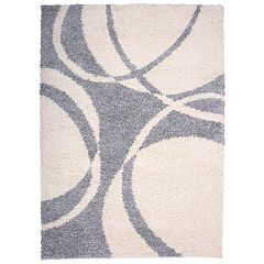 World Rug Gallery Contemporary Circles Premium Plush Shag Area Rug
