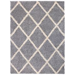 World Rug Gallery Diamond Trellis Premium Plush Shag Area Rug