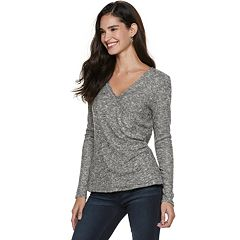 Women's Rock & Republic® Surplice Ruched Top