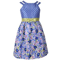 Girls 7-16 Bonnie Jean Floral & Polka Dot Bow Waist Dress