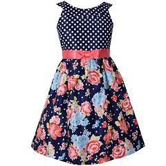 Girls 7-16 Bonnie Jean Floral & Polka Dot Bow Waist Dress