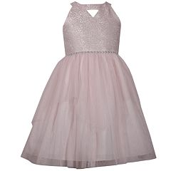 Girls 7-16 Bonnie Jean Keyhole Neckline Metallic Bodice Mesh Layered Skirt Dress